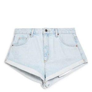 TopShop high waist rolled hem light denim shorts